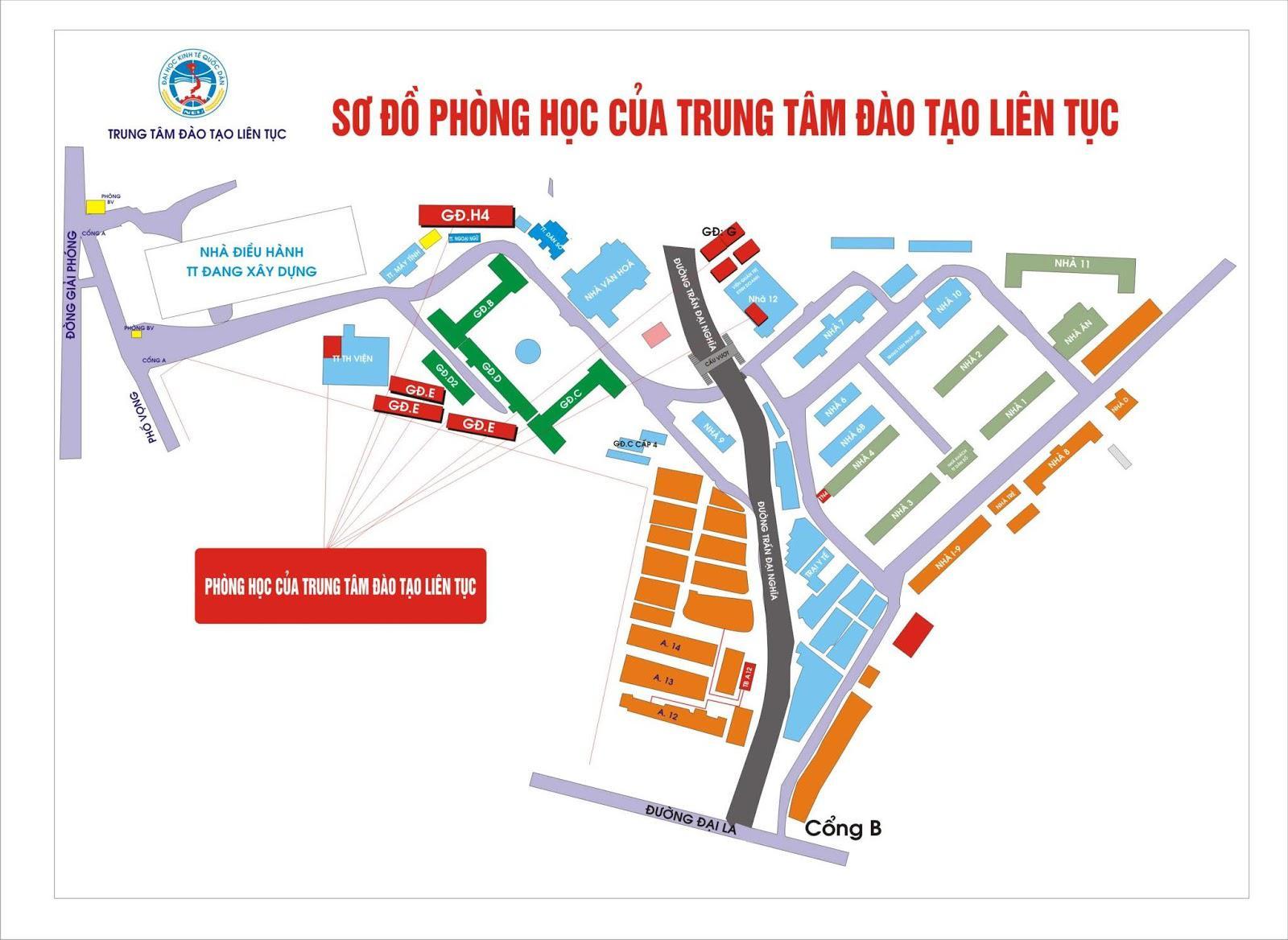 Bản đồ trường Đại học Kinh tế Quốc dân