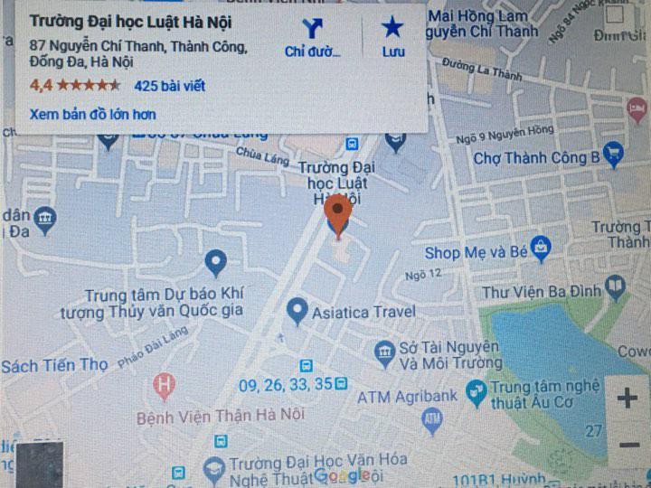 Bản đồ trường Đại học Luật Hà Nội