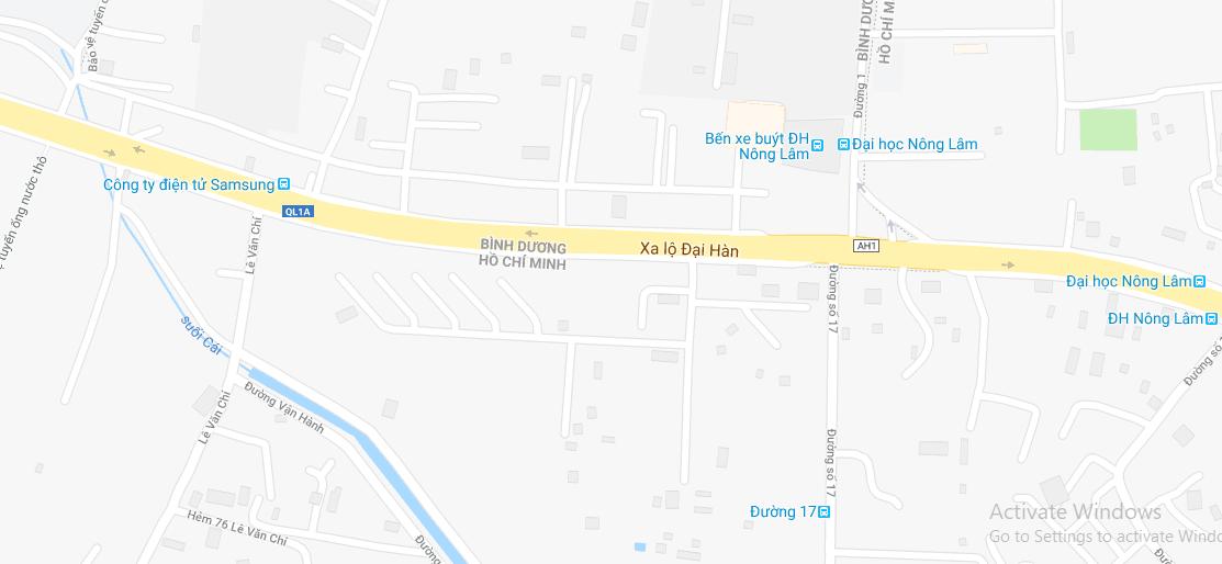 Bản đồ Đại học Nông lâm Tp.HCM - trụ sở chính