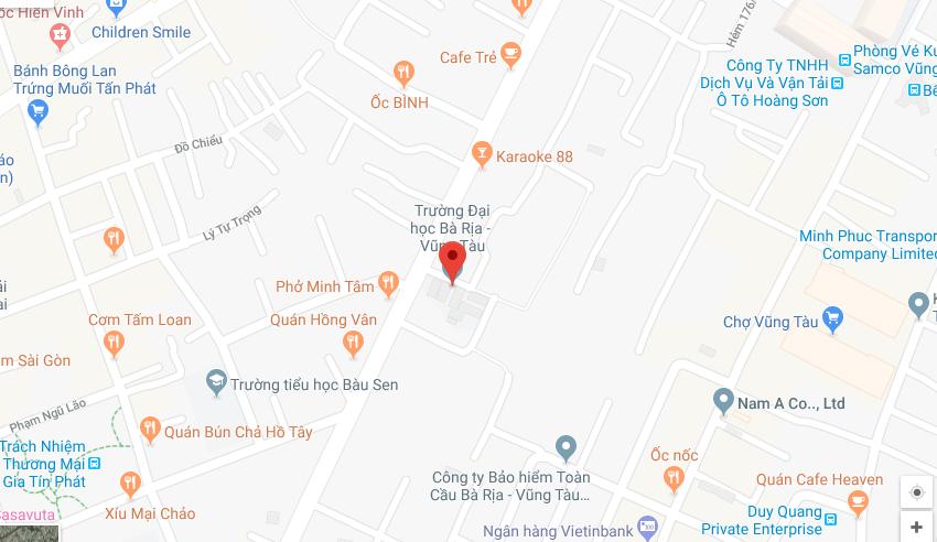 Bản đồ ĐH Bà RịaVũng Tàu