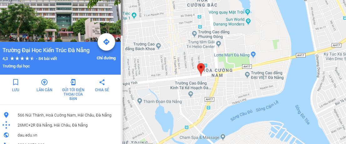 Bản đồ Đại học Kiến trúc Đà Nẵng - Cơ sở 2
