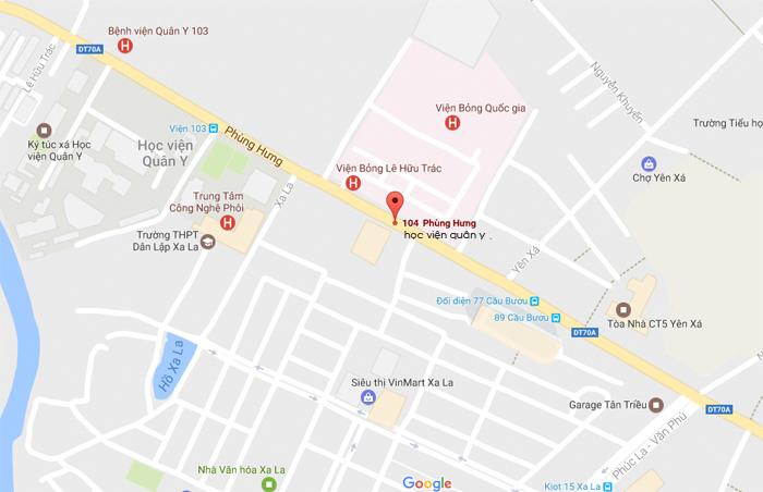 Bản đồ Học viện Quân Y 103